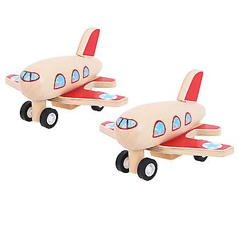 Bigjigs Toys Wooden Pull Back Planes (Pack of 2) Traditional Stocking Fillers