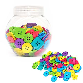 75g Mixed Size and Shade Buttons for Crafts - Primary Shapes