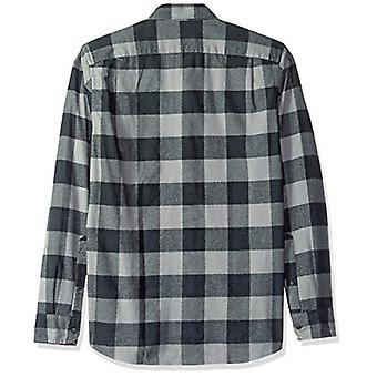 Goodthreads Men's Slim-Fit Långärmad borstad flanellskjorta, -grå/svart buf...
