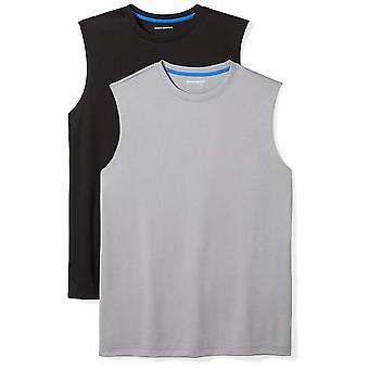 Essentials Uomini's 2-Pack Performance Muscle T-Shirts, Grigio nero/medio...