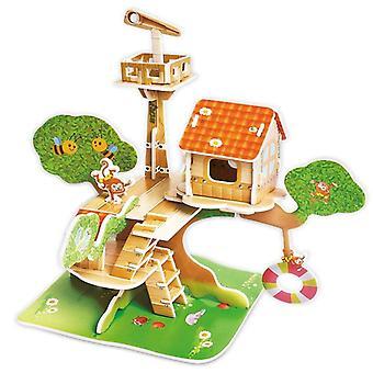 Kindergarten Cartoon Castle Garden House, 3d Puzzle Jigsaw Educational