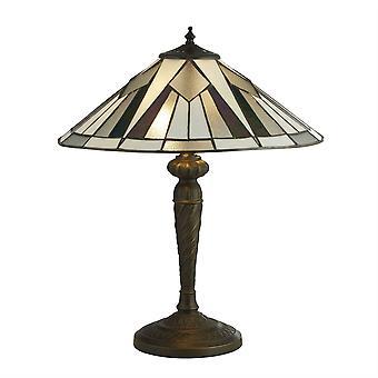 Searchlight Gatsby - 2 Light Tiffany Table Lamp Antique Bronze, Black, White, Multi, E27