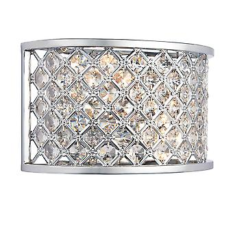 2 Light Indoor Wall Light Chrome with Crystal, E14