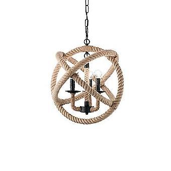 Ideale Lux Corda - 3 Licht kugelförmige Deckenanhänger braun, schwarz, E14