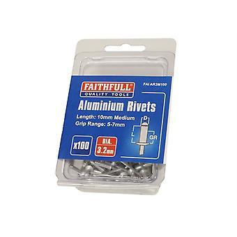 Faithfull Aluminium Rivets 3.2mm x 10mm Medium Pre-Pack of 100 FAIAR3M100