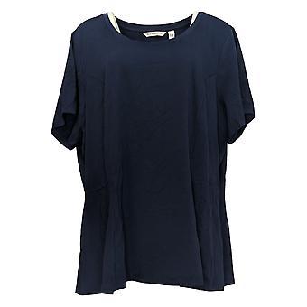 Isaac Mizrahi Live! Women's Plus Top Short-Slv Seamed Peplum Blue A354253