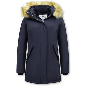 Winter Coat With Imitation Fur Collar - Slim Fit - Blue
