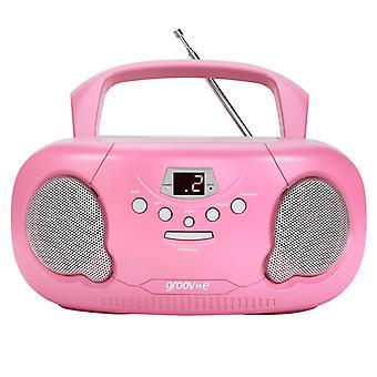 Groov-e GVPS733PK Oryginalny przenośny odtwarzacz CD Boombox z wtyczką Radio Pink UK