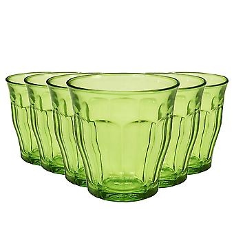 Duralex Picardie Coloured Glasses - 250ml Tumblers for Water, Juice - Green - Pack of 6