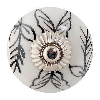 Nicola Spring Keramische Kast Drawer Knob - Floral Design - Zwart / Wit Bladeren