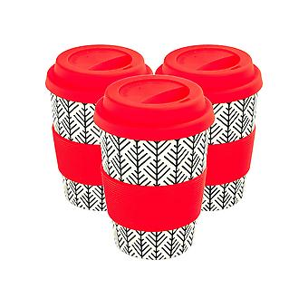 Reusable Coffee Cups - Bamboo Fibre Travel Mugs with Silicone Lid, Sleeve - 350ml (12oz) - Geometric - Red - x3