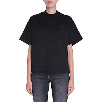 Ami H20fj13379001 Damen's schwarze Baumwolle T-shirt
