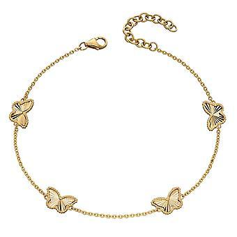 عناصر الذهب 9ct حبيبة الماس قطع الأصفر سوار الفراشة الذهبية GB490