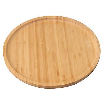 25cmx25cm Holz Bambus Tablett Runde Form Tabletts Essen Servierplatte Platte Platter