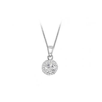 """Eternity Sterling Silver Small Round Cubic Zirconia Halo Pendant And 18"""" Chain"""