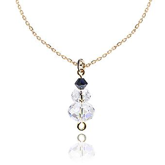 Ah! Jewellery Moonlight and Jet Crystals From Swarovski Snowman Necklace, 45cm Chain Included. Sterling Silver, Stamped 925