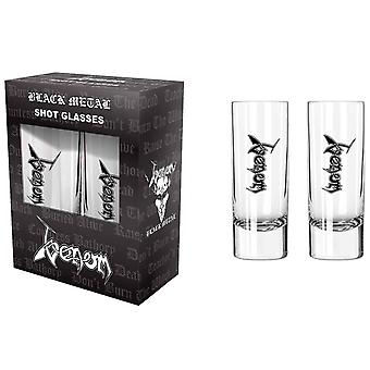 Venom Shot Glasses Black Metal Band Logo new Official Boxed 2 Pack