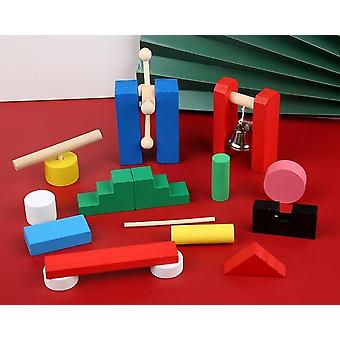 Träbräda set, byggstenar form lärande pedagogisk leksak