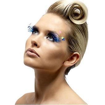 Smiffys feather pulme eyelashes - blue/neon