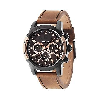 Police PL.94528AEBR/12 Scrambler Chronograph Brown Leather Black and Rose Gold Men's Watch