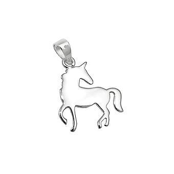 Colgante Unicornio Plano Pulido Plata 925