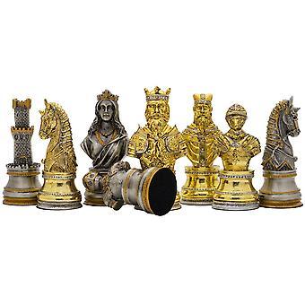 Den middelalderlige tin håndmalet luksus skak mænd af Italfama