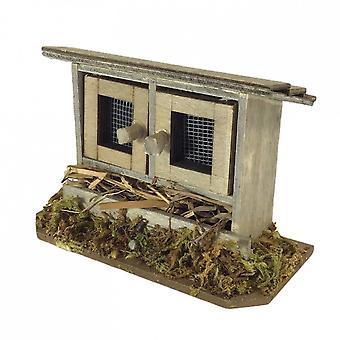 בובות בית עץ ארנב האץ ' עם חציר מיניאטורי גן אביזר לחיות מחמד 1:12