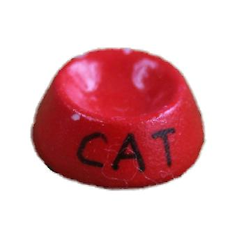 Dolls House Red Cat Food Bowl Water Dish Miniature Pet Accessory