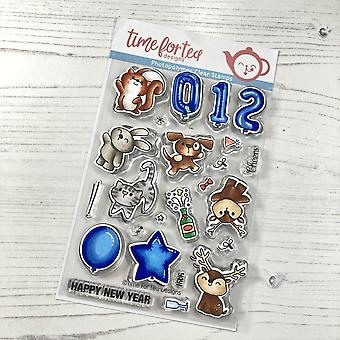 Time For Tea Happy New Year Critters A6 Clear Stamps