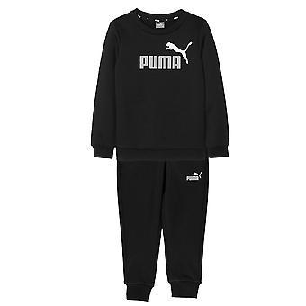Puma Essential Logo Kinder Fleece Sport Sweatshirt Trainingsanzug Set Schwarz