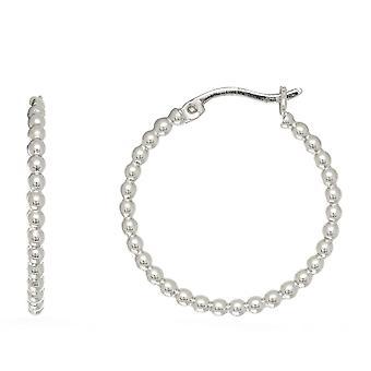 Sterling zilveren Rhodium Plated Beaded buis ronde Hoop Earrings Hoop Earrings