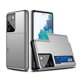 VRSDES Samsung Galaxy M31 - Lompakkokorttipaikan kansikotelo Business Silver