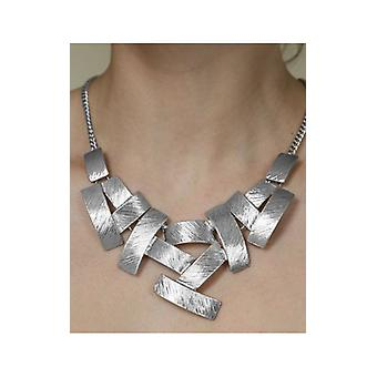 Silver Multi Rectangular Pendant Bib Necklace