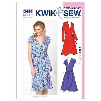 Kwik Sew Sewing Pattern 3489 Misses Wrap Dresses Size XS-S-M-L-XL