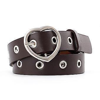 3PCS Narrow Tenká kůže Stříbrná kovová spona na srdce Pásy pro ženy, Délka pásu: 105cm (Káva)