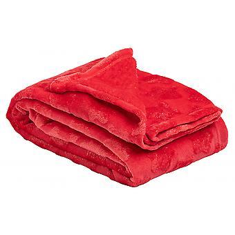بطانية X & mas المرح 150 × 200 سم الصوف / القطن الأحمر
