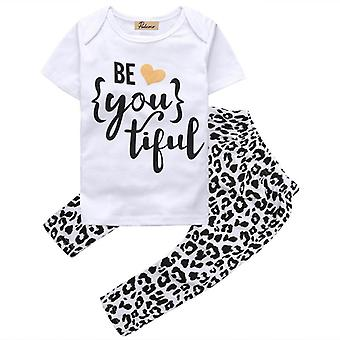 Girls Short Sleeve Be Heart You Tiful Leopard T-Shirt Pants Clothes