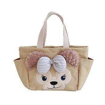 Cute cartoon lunch box bag lunch hand bag tote bag female canvas handbag Lunch Bags(brown)