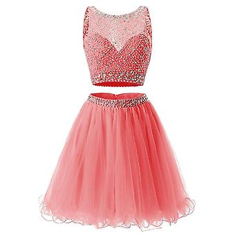 Short Mint Two Pieces Homecoming Sequined Tulle Dress