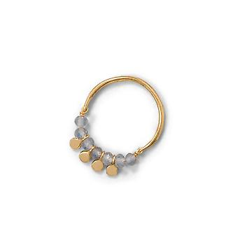 14k Gld Flashed 925 Sterling Silver Labradorite Bead and Disk Ring 2.8mm Beads 2.7mm Polished Disks Band Jewelry Gifts f