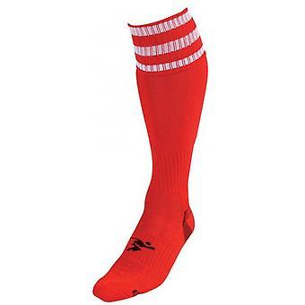 PT 3 Prúžok Pro Futbal Ponožky Pánske Červená / Biela