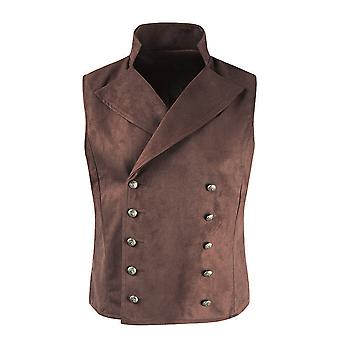 Yunyun Men's Solid Color Two-breasted Faux Suede Vest