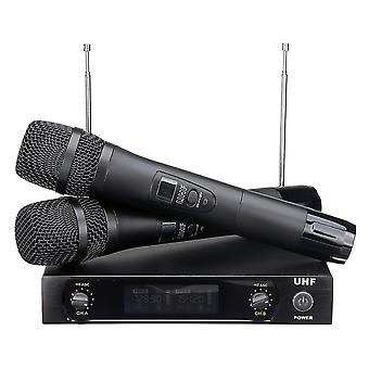 UHF 220-270 MHz trådlös mikrofonsystemmottagare dubbel mikrofon handhållen sladdlös KTV-steg