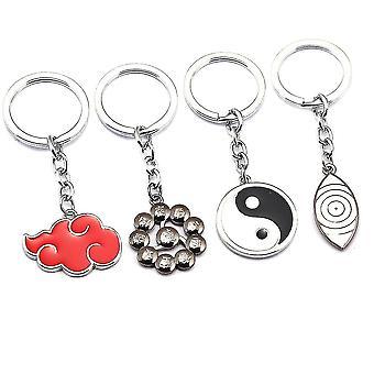 4pcs/lot Naruto Keychain Key Ring Xiao Organization Code Plainer Sasuke Reincarnation Eyes Red Cloud