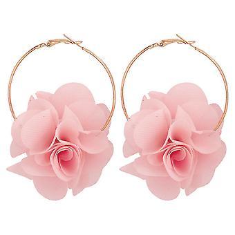Flower Series 3d Roze Flower Buds Alloy Mesh Oorbellen Voor Party