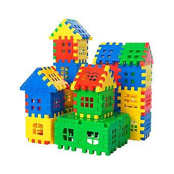 كتل اللغز لتجميع منزل لبناء لعبة الجمعية مناسبة للأطفال الذين تتراوح أعمارهم بين 5-6-100PCS
