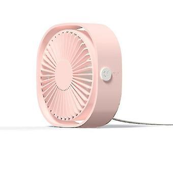 Usb настольный мини-вентилятор, 360 вращений, портативный (розовый)