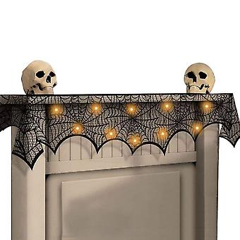 Halloween Decoration Black Lace Spiderweb Fireplace Mantle Scarf Cover Festive Party Supplies 45 X 243cm 18 X 96 Inch