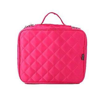Dubbele zwarte cosmetische tas grote capaciteit reizen noodzakelijke waszak markup pouch schoonheidsspecialiste (rose rood)