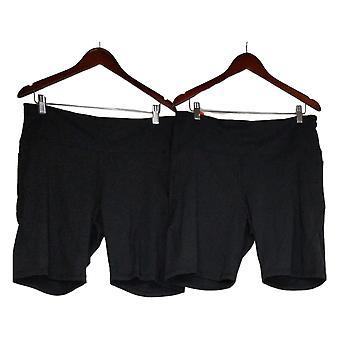 Danskin Women's Bike Shorts 2-Pack w/side slits Black